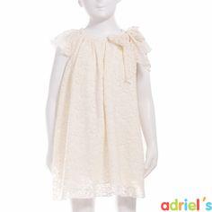 Vestido de ceremonia para niña en guipur beige de Teté&Martina.