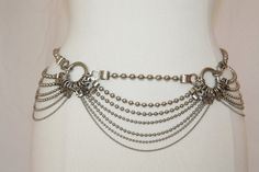 Steampunk Chain Belt 7 STrands Hooks Silvertone Metal Sexy Belly Dancer Hippie Rocker Boho Vintage REtro Sexy Chanel. $50.00, via Etsy.