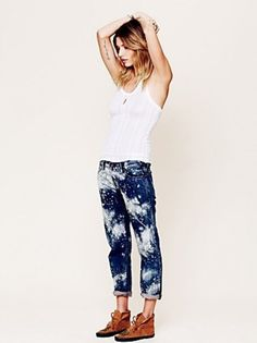 Splash your old jeans with bleach...new jeans