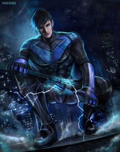 Nightwing by May-dari on DeviantArt Robin Dc, Batman Robin, Nightwing Cosplay, Richard Grayson, Arte Dc Comics, Batman Universe, Dc Universe, Batman Family, Detective Comics
