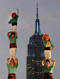 Human tower joins the Manhattan skyline http://nbcnews.to/LF2sT2 (Photo: Timothy A. Clary / AFP - Getty Images) #NYC