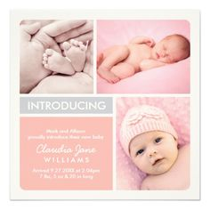 """Introduce your new baby girl to family and friends in style with this modern and chic color-block birth announcement design.  The square card includes three placements to showcase your favorite newborn photos, and a blush pink, platinum gray, and white color scheme. <br> Shop other birth announcement colors and designs by Plush Paper <a href=""""http://zazzle.com/plush_paper*"""">HERE</a>."""