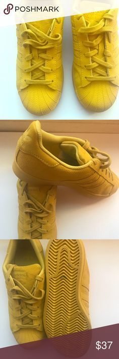 new products f966e 55829 ... Sz 5 Yellow Suede Superstar Adidas Item worn twice Minor discoloration  on the tongue of the shoe Kids size 5 Item without the box adidas Shoes  Sneakers