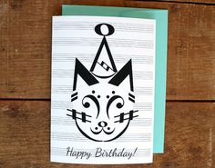 PARTY CAT Music Note Birthday Card