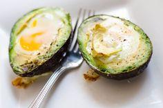 Baked eggs in avocado     recipe here :  http://www.fitsugar.com/Baked-Eggs-Avocado-Recipe-30787252