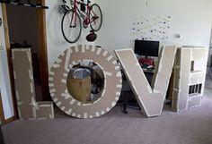 como hacer letras gigantes para boda