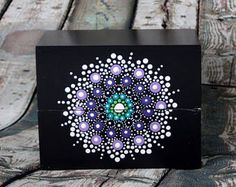 Jewel Drop Mandala Painted Stone Sacred Geometry Aqua Dream