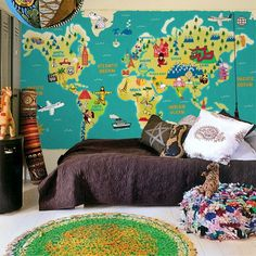 Cozy climbing wall world map kids room inspiration pinterest dcoration sur le thme du voyage world map wallpaperwallpaper muralswall gumiabroncs Gallery