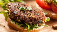 "These hearty, healthy mushroom ""burgers"" get an unexpected crunchiness from the addition of oat bran."