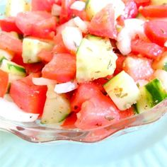 Tomato, cucumber, and onion in a simple red wine vinegar and olive oil dressing is a quick and easy salad. Cucumber Tomato And Onion Salad Recipe, German Cucumber Salad, Tomato Salad Recipes, Cucumber Recipes, Summer Dishes, Summer Salads, Marinated Cucumbers, Easy Salads, Stuffed Peppers