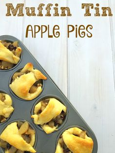 EASY recipe for mini apple pies that only requires 4 ingredients and can be done in less than 15 minutes total. Muffin tin apple pies are the best. #warmtraditions AD