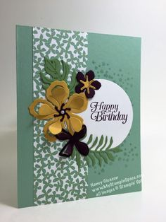 The Botanical Gardens product suite includes stamps, dies and coordinating DSP.  Combined together, they make an strikingly beautiful & feminine birthday card.
