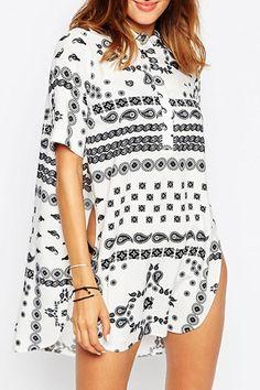 Short Sleeve Printed High Slit Blouse
