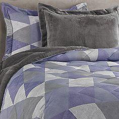 Jun Printed Reversible Plush Down Alternative Comforter Set in Purple