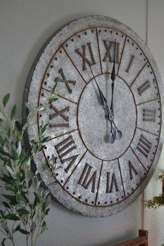 Gilbert Galvanized Wall Clock – Clock World Galvanized Decor, Galvanized Metal, Galvanized Buckets, Contemporary Clocks, Farmhouse Clocks, Casa Loft, Kitchen Wall Clocks, Wall Clock Decor, Kitchen Decor