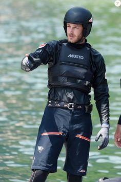 Exclusif - Pierre Casiraghi à Malcesine sur le Lac de Garde le 8 juillet 2016, lors du 2e jour de course de la 2e étape du GC32 Racing Tour qu'il dispute à bord du catamaran Malizia, impliqué dans un très impressionnant accident qui n'a par miracle fait de dégâts que matériels.