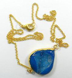 Shiny vintage Agate Druzy gemstone pendant brass chain fashion choker necklace #MagicalCollection #Pendant