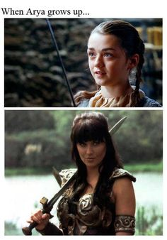 Game of Thrones funny memes. Before and after: When Arya Stark grows up to become Xena Warrior Princess. Game Of Thrones Tv, Game Of Thrones Funny, Arya Stark, Got Memes, Funny Memes, Xena Warrior Princess, Cinema, Six Feet Under, Maisie Williams