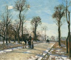 """Camille Pissarro """"Street, Winter Sunlight and Snow"""", 1872 (France, Impressionism, 19th cent.)"""