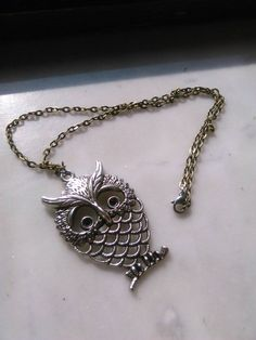 Gufo argento collana Owl catena Necklace bronzo di LaboratorioNerd