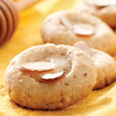 Almond and Honey-Butter Cookies.  This thumbprint cookie uses honey as the only sweetener and tender ground almonds to replace much of the butter found in similar cookies. Just a touch of butter mixed with honey in the filling gives it a rich flavor without too much saturated fat.