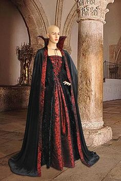 Dracula Style Dress No. 33 Black, Red - 167.00USD - Medieval and Renaissance Clothing, Handmade by Your Dressmaker
