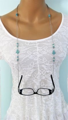 Turquoise Cross and Beaded Eyeglass Chain, Silver Glasses Chain, Beaded Eyeglass Chain, Eyeglass Necklace, Eyeglass Holder Mom Daughter Matching Outfits, Men Eyeglasses, Eyeglass Holder, Beaded Jewelry, Fashion Jewelry, Long Beaded Necklaces, Teachers' Day, Amethyst, Chains