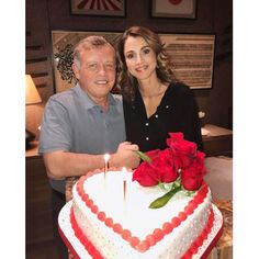 """Love is in the air! Queen Rania celebrated Valentine's Day with her husband King Abdullah. Sharing a picture with her Valentine and their enormous heart-shaped cake, the Jordanian monarch wrote, """"May your hearts and homes always be filled with love and peace #Love."""""""
