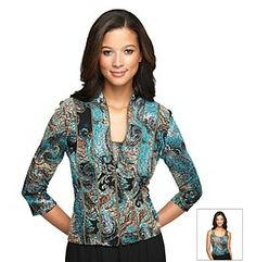 Shirts. You'll look regal and refined in this twin-set from Alex Evening that features a matching jacket and shell. Featured in teal Twin-set features jacket and shell Printed jacket has -sleeves and a zip-front Shell is sleeveless with a scoopneck Polyester/spandex Imported