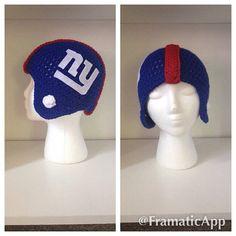 Crochet NY Giants Football Helmet, Football Hat, New York Giants, NFL, Football…
