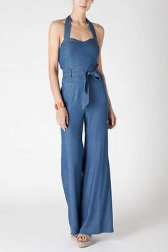 917345017a9 Sharlene Halter Jumpsuit Chambray Jumpsuit