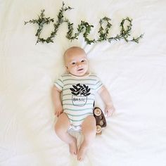 Basil onesie - Fin & Vince @childflowerz Monthly baby photo ideas for boys, organic baby boy clothes.