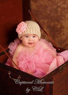 Baby Hat Baby Girl Crochet Hat  Baby Beanie Hat With door Karenisa, $20.00