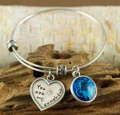 You Are My Sunshine Bracelet, Personalized Bangle Bracelet, Silver Bangle Charm Bracelet, Birthstone Bangle, Alex & Ani Style by AnnieReh on Etsy