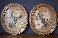Vintage Turner Oval Gold Framed Floral Print Pictures Orchids  Lily by SherwoodVintage on Etsy
