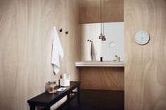 studio pepe + bathroom + plywood + wood + mirror + white +sink + aesop + stendig + plywood bathroom