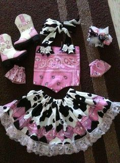 Baby Cowgirl: Skirt, Bandana Shirt, Boots, and Hair Bows