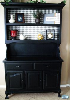 Beautifully redone china hutch- black and white <=== wanting to do this to my wonderful cherry wood china cabinet but kinda afraid to since it IS cherry wood Hutch Makeover, Front Door Makeover, Furniture Makeover, Hutch Redo, Paint Furniture, Furniture Projects, Furniture Making, Trendy Furniture, Black Furniture