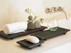 zen bathroom decor-want this for my new bathroom. Basement bath=zen to be. Zen Bathroom Design, Zen Bathroom Decor, Bathroom Sets, Bathroom Trays, Bathroom Accents, Ikea Bathroom, Bathroom Interior, Master Bathroom, Construction Chalet