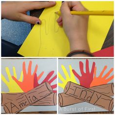 Pre-prep die cut hands in these colors. Students practice name writing on long. A Camping We Will Go! Camping Activities, Summer Activities, Camping Theme Crafts, Campfire Crafts, Toddler Activities, Classroom Themes, Classroom Activities, Camping Theme For Classroom, Preschool Camping Theme