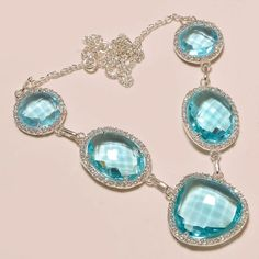 """19 gms FACETED BLUE TOPAZ WITH WHITE ZIRCON .925 SILVER NECKLACE 18""""  #Handmade #Pendant"""