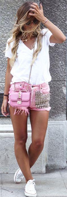 Tatjana Catic Pink Studded Shorts Fall Inspo #Fashionistas.. Converse sneakers