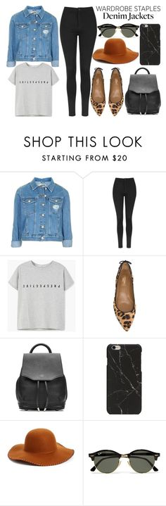 """""""Wardrobe Staples: denim jacket"""" by mollie-simmonds ❤ liked on Polyvore featuring Topshop, MANGO, Aquazzura, rag & bone, Phase 3 and Ray-Ban"""