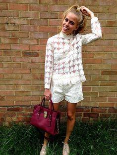 BETSY organza heart patterned cream collar shirt by EthelandMo