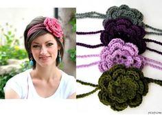 headband crochet with flower - Pesquisa Google