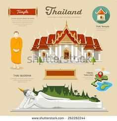 Thai Temple and Thai Buddha with monk and temple icons collections of thailand. vector illustration
