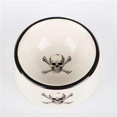 Skull & Crossbones Ceramic Dog Bowl, Skull & Crossbones Treat Jar, Stylish Dog Bowls, Trendy Dog Bowls