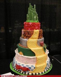 Wizard of Oz wedding cake.  http://wedinator.icanhascheezburger.com/2011/12/02/funny-wedding-photos-wizard-of-oz-cake-were-off-to-see-the-wedding/