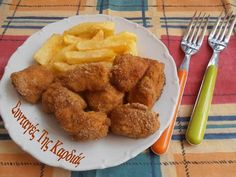 Nuggets with yogurt crust Chicken Nuggets, Greek Recipes, Entrees, Yogurt, Food And Drink, Cooking Recipes, Meals, Ethnic Recipes, Poultry