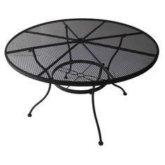 Garden Treasures Davenport 48-in W x 48-in L 4-Seat Round Black Steel Mesh Patio Dining Table